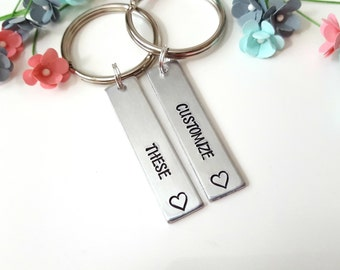 Gifts for Newlyweds, Couple Keychains, Customizable Keychains, Husband and Wife Keychains, Hand Stamped Keychain, Matching Keychains