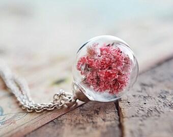 Terrarium necklace, Dried flower necklace, Botanical glass globe necklace, Real plant necklace, Terrarium jewelry, Real flower necklace
