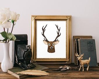 Original Hand Painted Watercolor Deer, Instant Download Printable Art!