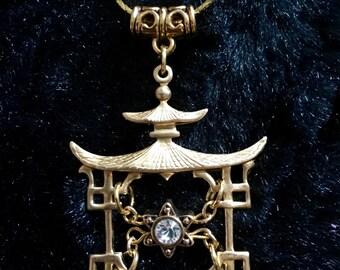 Starlight Temple Pagoda Pendant Necklace