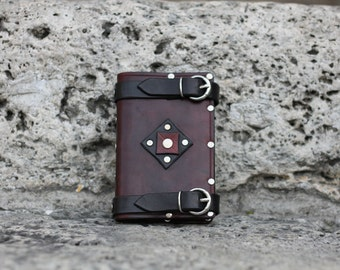Handmade leather cover with buckles - Dark version