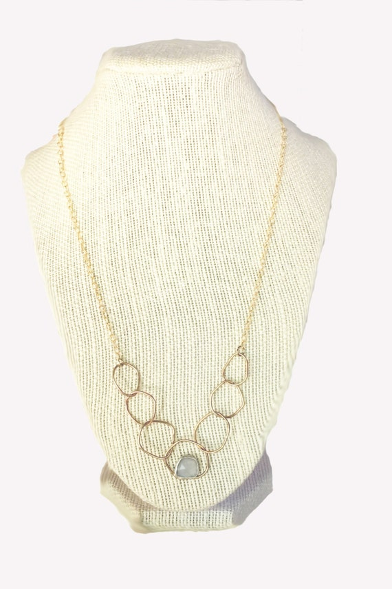 Gold organic circle chain gemstone layering necklace