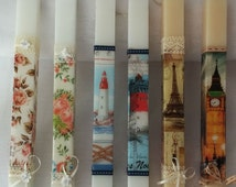 Scented candles greek easter candles Handmade easter candles Greek orthodox crafts easter candles travel candles shabby chic candles marine