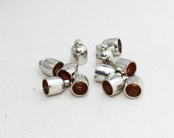 10 Pcs 8mm Silver Brass End Caps, Bead Caps, Cones, Solid Brass End Caps, Cord End, FRY27