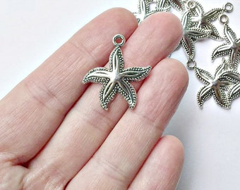 8 Starfish Charms - Antique Silver Tone - Starfish Pendants - #S0223