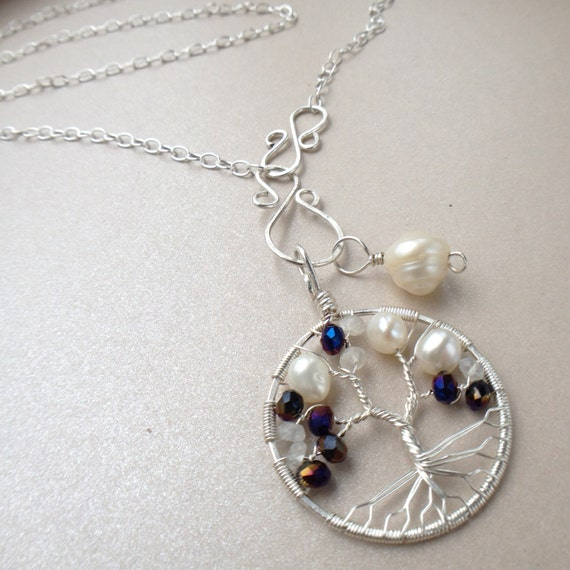 Natural Alexandrite Necklace: Tree-of-Life Charm Alexandrite Freshwater Pearl Moonstone