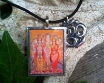 Handmade Pewter Lakshmi Ohm Picture Pendant Hindu Goddess Good Luck Wealth Beauty Hinduism Amulet Talisman Boho Hippy Necklace MagickMagick