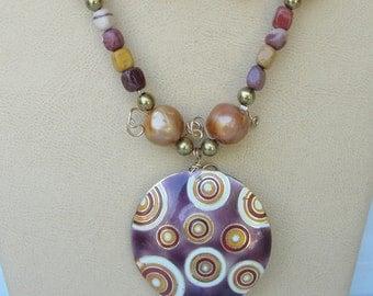 Burgundy & Beige Necklace Set