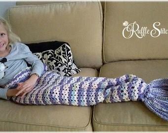 Custom Hand Crochet Mermaid Tail Snuggle Blanket (2T-10yrs)
