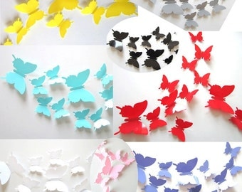 Mirror Single color Stereoscopic wall sticker 3D simulation Butterflies Wall sticker ,3D butterflies wall decal- set of 12 various sizes
