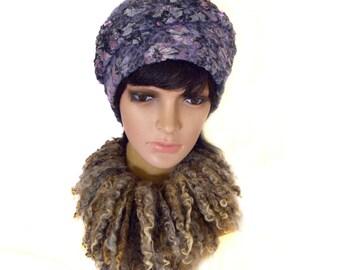 "Love, fashion,BEANIE HAT.Gift.Gift Idea.Handmade.A cap.Woman's cap.Headdress.felting.Hat felting, Hat ""Anfisa"".the author felt, Nuno felting"
