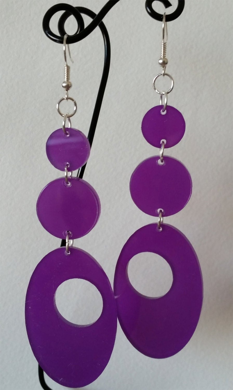 Circle and Oval Earrings, Purple Acrylic Earrings, geometric earrings
