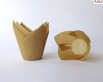 Tulip Cupcake Liners, 25 Tulip Baking Cups, Natural Cupcake Liners, Paper Baking Cups, Unbleached Baking Supplies.