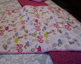 Flannel and Dotted Minky Baby Blanket