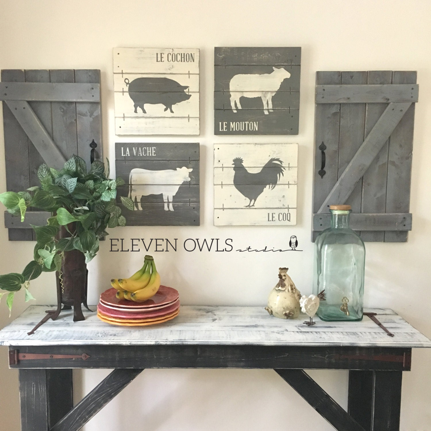 FARMHOUSE ANIMAL DECOR 4 pcs set modern farmhouse wall