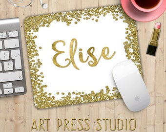 Your Name in Gold Glitter Mouse Pad, Glitter Sparkle Mousepad, Custom Name in Gold Mouse Pad, Fashionista Mousepad