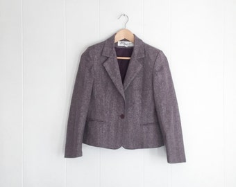 Tweed Blazer - Vintage Blazer - Womens Blazer - Cropped Jacket - Purple Blazer - Plaid Blazer - Tweed Jacket - Purple Plum - Size 6 -Vintage