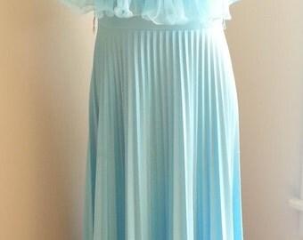Light Blue Flutter Pleated Dress