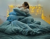 Linen duvet cover. Aquamarine. Linen bedding. Washed linen bedding, softened linen. Linen duvet cover. Blue duvet cover, twin, queen