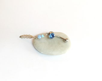 Feather Belly Ring, Opal Belly Ring, belly button rings surgical steel belly jewelry opal, belly ring dangle, feather belly button rings