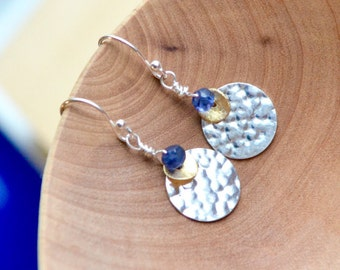 Hammered Silver and Gold Disc Earrings with Water Sapphire Iolite, Silver Gold Earrings with Tiny Blue Gemstone, Everyday Dangle Earrings