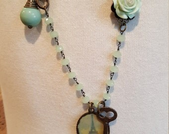 Vintage Necklace with Eiffel Tower Charm & Antique Key