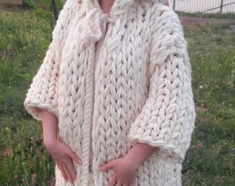 Chunky Knit Cardigan /  Chunky knit Jacket / Hand knit Cardigan Thick knit Cardigan / Ivory Cardigan, Chunky knit Sweater, Birthday Gift