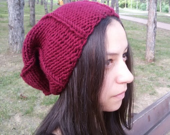 Slouchy Hat Knit Hat Burgundy Oversized Hat Womens Slouchy Beanie Hat Gift for Her Fashion Accessories Winter Knit Accessory Spring Trends