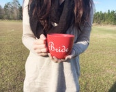Red and White Bride Coffee Cup // Bride to Be // Bridesmaid Gifts