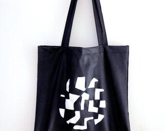 Black Tote Bag - cotton - 40 x 38 cm - Space Illustration