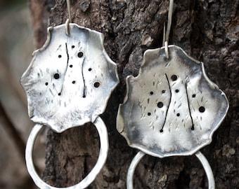Boho earrings-Silver leaves earrings-Sterling silver-Hand sculpted-Jewelry