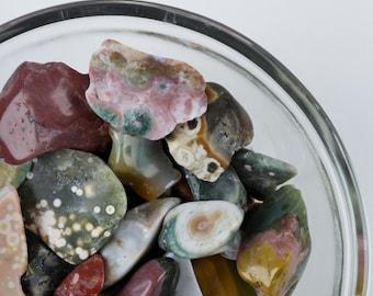 20g Lot of OCEAN JASPER Stones - Tumbled Stones, Jasper Jewelry Making, Red Jasper, Yellow Jasper, White Jasper, Ocean Jasper Pendant E0042