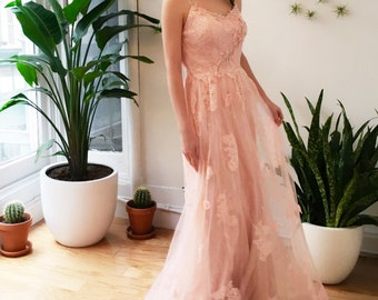 Romantic Pink Floral Lace Wedding Dress Boho Garden Style