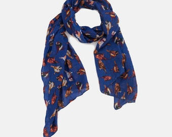 Scarf On Sale, Summer Sale, Birds printed scarf, Sparrow Birds printed scarf, Royal Blue scarf, Summer scarf, Gift scarf,
