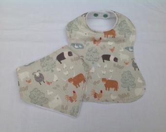 Baby bib set, dribble bib & feeding bib, baby accessories, baby gift, baby shower, handmade