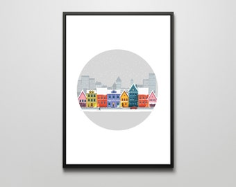 A Cold Winter's Eve - A3 Wall Art Print Illustration Poster