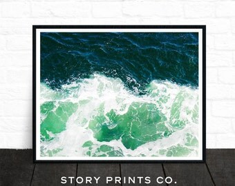 Ocean Photo, Sea Art, Ocean Waves Photography, Water Photography, Beach Print, Tropical Poster, Large Poster Art, Green, Aqua, Printable Art
