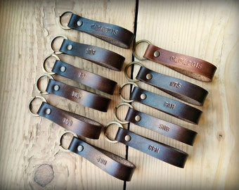 Personalized leather keychain, Graduation gift, Hand stamped personalized keychain