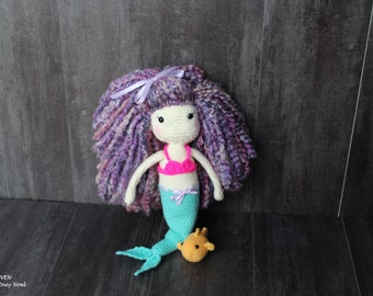 "Handmade Mermaid Doll, Crocheted Mermaid Doll, 16"" Crocheted Mermaid Doll, Handmade Doll, Crocheted Doll"