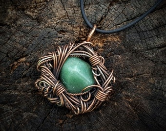 Aventurine Wire Wrapped Pendant, Copper Wire Wrap, Wire Wrapped Stone, Aventurine Necklace, Copper Jewelry, Wire Wrapped Jewelry