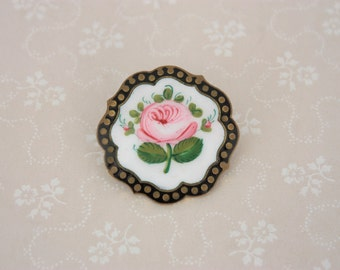 Art Deco Rose Brooch, Black And Pink Brooch, Floral Enamel Brooch, Vintage Rose Brooch, Antique Rose Brooch