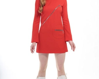 60s Style Red Mini Dress with Flare Sleeves and Ring Pull Zips - Mod Space Age Psych Vintage Reproduction