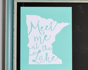 Minnesota Gift, Minnesota Art, Lake House Wall Decor, Wall Art, Minnesota State Art, Travel Gallery Wall Art, Ten Thousand Lakes