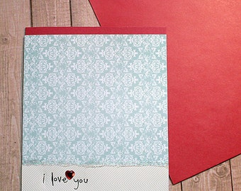 "I Love You Glitter Stripes Note Card / Valentine, Romance, Anniversary, Wedding, Engagement - 5"" x 6.5"""