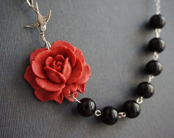 Statement Necklace Flower Necklace Maroon Necklace Black Necklace Bridesmaid Jewelry Set Bridesmaid Gift Vintage Style Wedding Necklace Gift