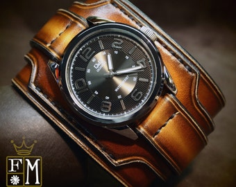 """Leather cuff watch Brown Tobacco fade 2.5"""" wide layered Brown watch band cuff Bracelet  Handmade for YOU in NYC by Freddie Matara"""