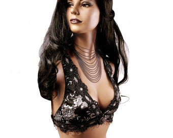 Halter, B Cup, Black, Silver, Sequins, Bellydance, Costume, Tribal, Fusion, Burlesque, Sequins, Hoop, Circus, Carnival, Bra