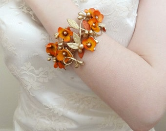 cuff bracelet, orange bridal jewelry, wrist corsage bracelet, bridal cuff, bridesmaid corsage wrist, fall wedding, bridesmaid cuff bracelet