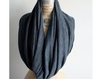 Holiday SALE Cowl Scarf Black Gray Wool, Infinity Scarf, Holiday Gifts, Winter Warm accessories