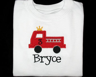 Custom Personalized Applique Birthday FIRETRUCK and NAME Shirt or Bodysuit - Red, Black, and Yellow